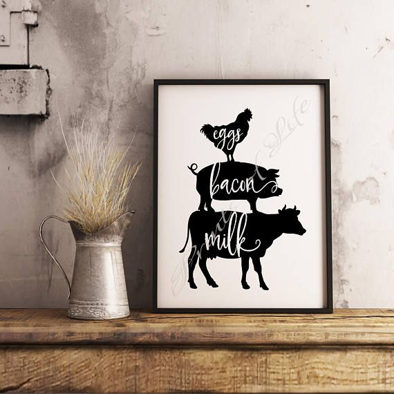 Farm print. Eggs Bacon Milk. Instant download wall art. Home