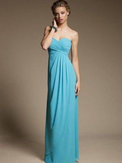 Sweetheart Sheath/Column Ruffles Chiffon Bridesmaid Dress