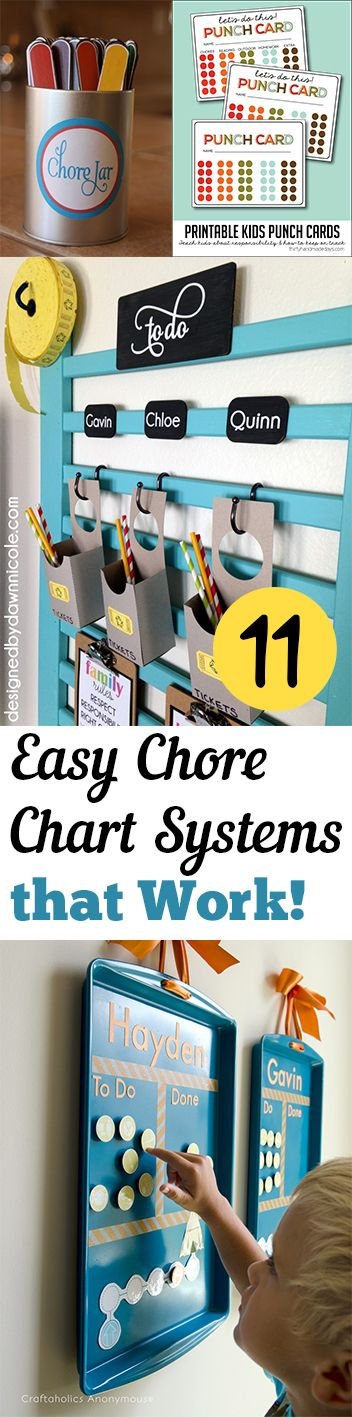 11 Easy Chore Chart Systems that Work! Chore chart, parenting, parenting kids, chore chart, house hacks.