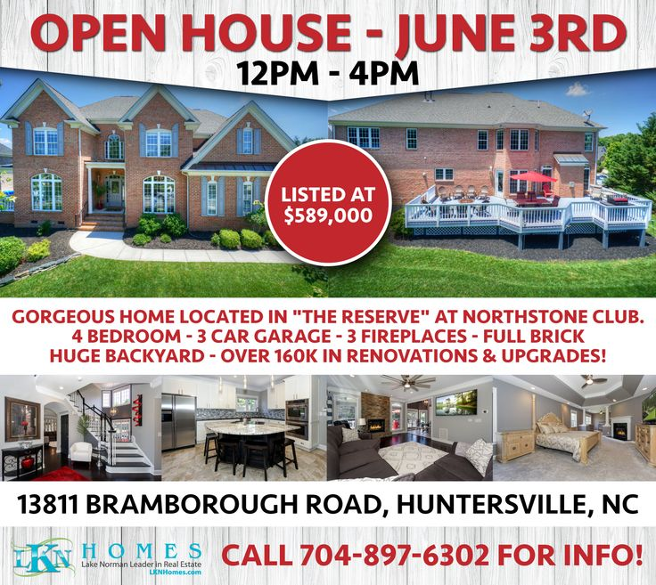 """JOIN US FOR AN OPEN HOUSE THIS SATURDAY, JUNE 3RD FROM 12PM-4PM IN """"THE RESERVE"""" AT NORTHSTONE CLUB!    AT: 13811 Bramborough Road, Huntersville, NC 28078    Gorgeous home located in """"The Reserve"""" at Northstone Club. This 4 bedroom, full brick transitional home has all on the amenities of a one-of-a-kind home. Over $160k in Renovation and Upgrades completed in April of 2017. You and your friends will love cooking in this Gourmet Kitchen with Oversized Island and High-End Stainless Steel…"""