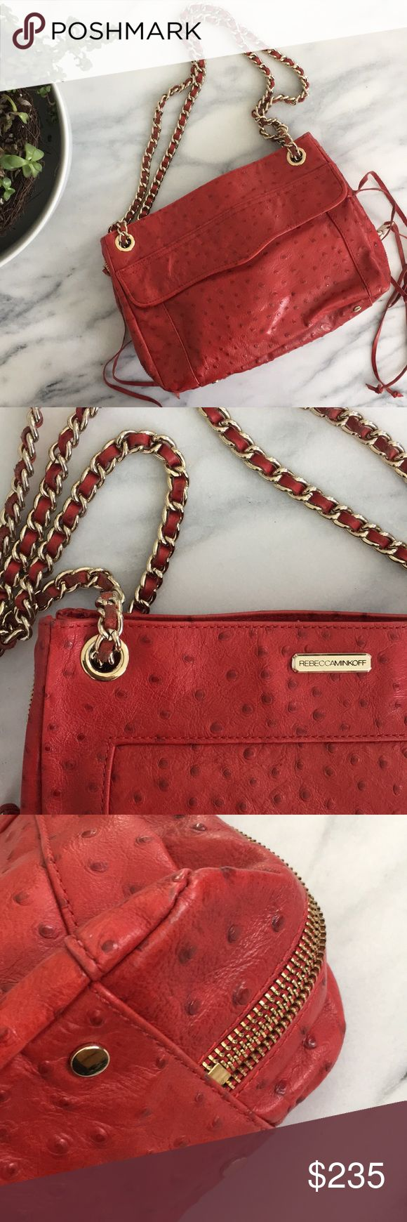 Rebecca Minkoff Bag Rebecca Minkoff medium sized bag in a beautiful cherry red color with gold chain strap (can be adjusted to shoulder and cross body length). In very very good condition! Rebecca Minkoff Bags Shoulder Bags