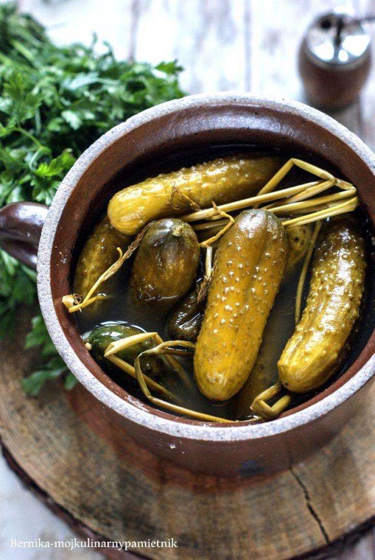Cucumbers pickled in stoneware