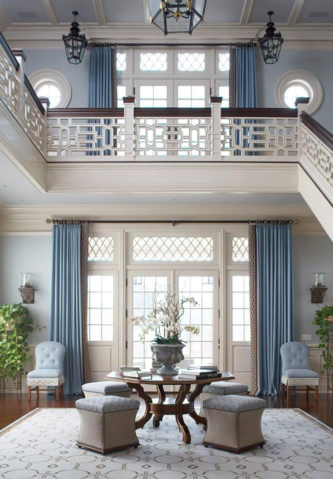 Monochromatic window treatments. Blue rooms. Fancy fretwork.