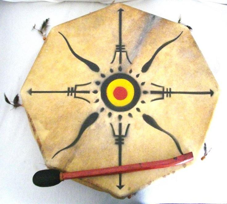 Tamburo Sciamanico Tribale con Disegni 40cm