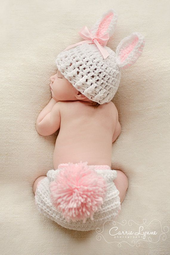 Newborn Bunny Hat Diaper Cover Set Easter by VioletsPlayground, $36.00