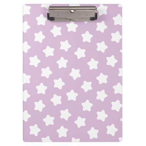 Cute Light Purple Star Pastel -Colored Clipboard