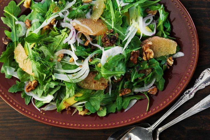 Salade de roquette, avocat, fenouil et pamplemousse