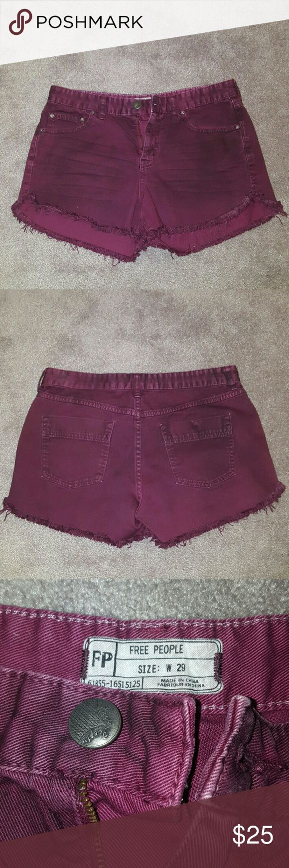 Free People Jean Shorts Gently used. Perfect condition.  Dark purple jean short. Ripped/whiskery detail. Free People Shorts Jean Shorts