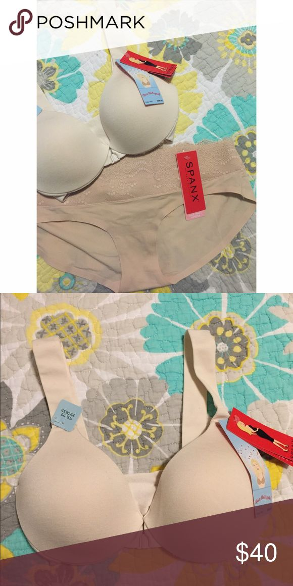 SPANX Bra & Panty Bundle Brand new bra and panty. These are for sale separately in my closet or you can purchase them together at a discount. No offers. Bra is size 32B and panty is M. SPANX Intimates & Sleepwear Bras