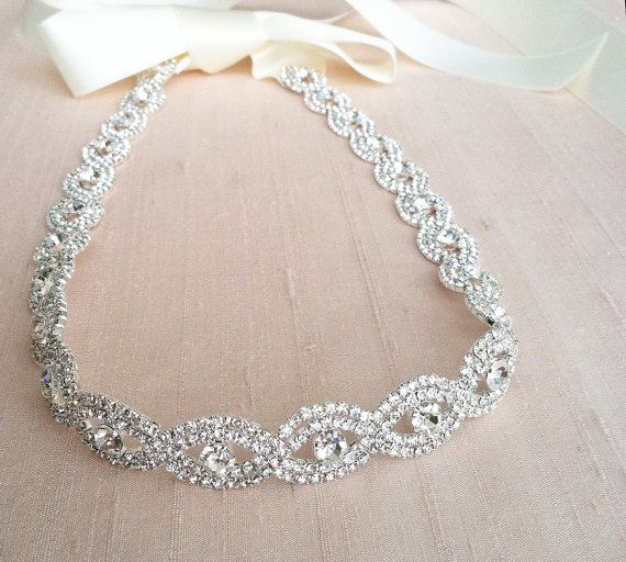 Rhinestone Headband  H14  SALE by bigrockbridal on Etsy, $39.00