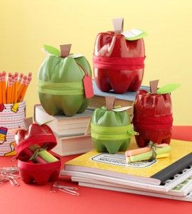 Recycled Soda Bottle Apples. This adorable apple craft will have the teacher falling head-over-heels for your little one! Two empty plastic bottles transform into an enchanted apple that can store school supplies, snacks and more.