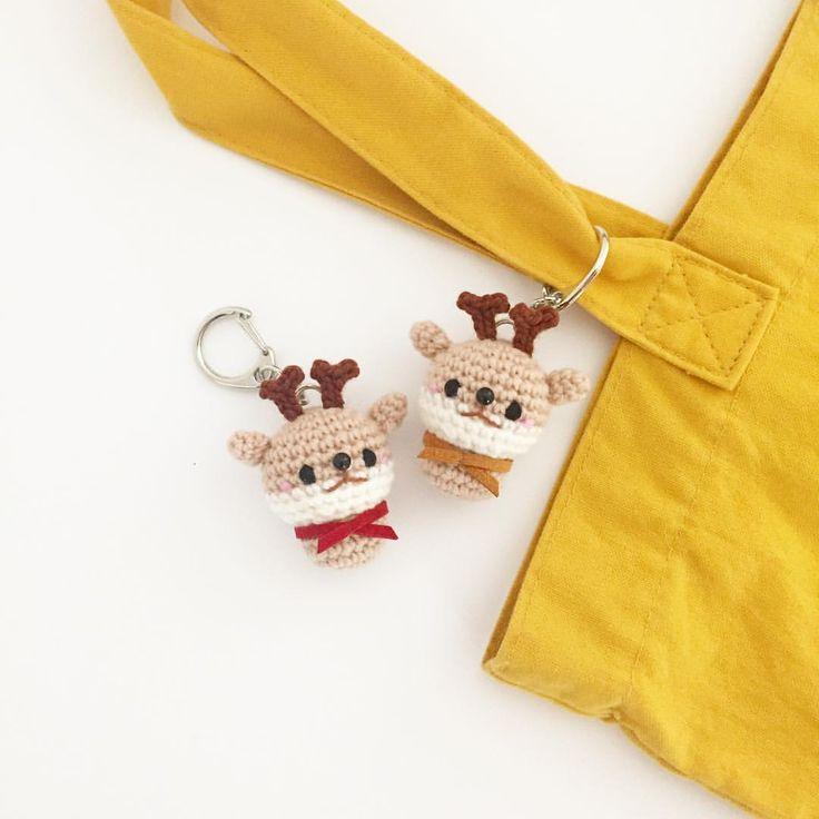 Crochet deer doll amigurumi keychain by isodreams  손뜨개 사슴 열쇠고리 인형 by 이소의꿈타래