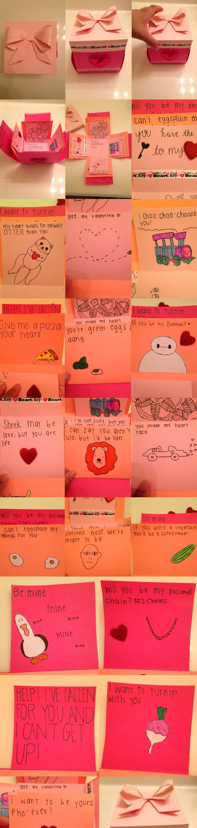 I made a valentine's day exploding box for my boyfriend with corny pick up lines in them. I messed up a lot, but it's still cute though. ♥