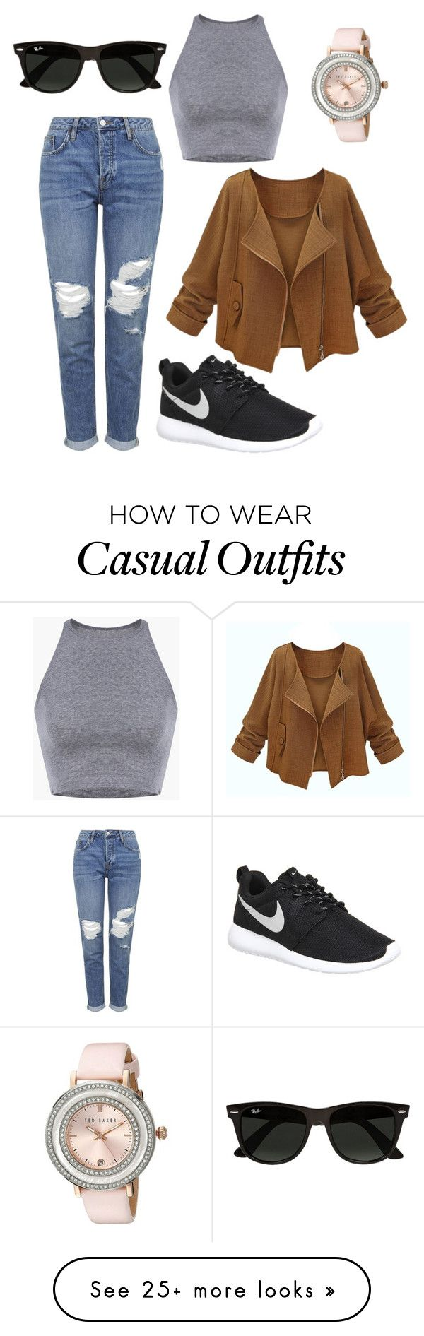 """casual"" by mariellvolter on Polyvore featuring NIKE, Topshop, Ray-Ban, Ted Baker, women's clothing, women's fashion, women, female, woman and misses"