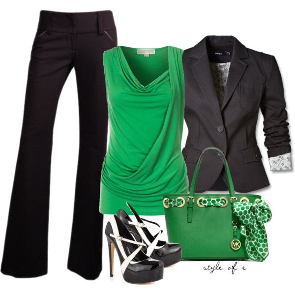 """Green, Black, & White"" by styleofe on Polyvore"