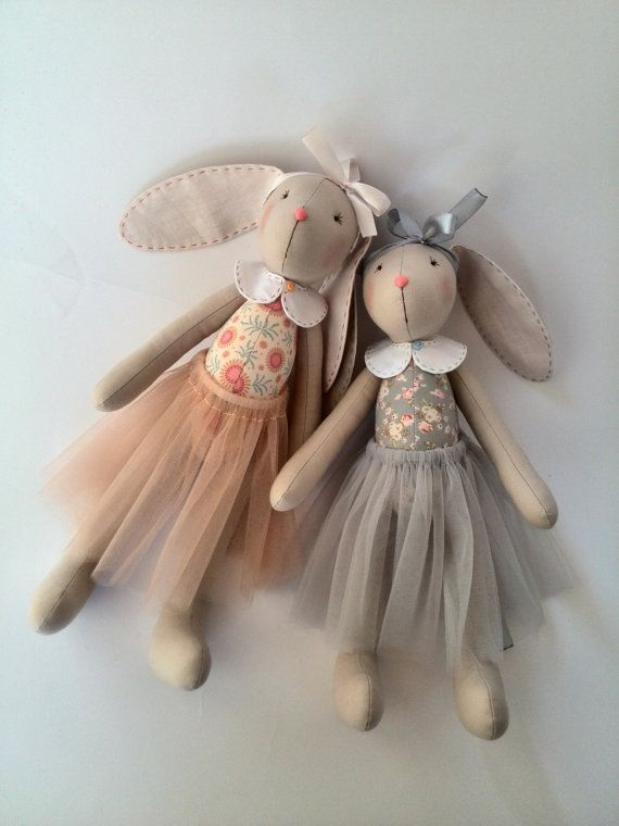 Soft toy bunny doll sisters Fabric toys by HandmadeToyStore