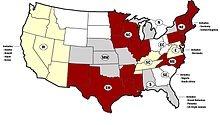 Map of the twelve provinces of Kappa Alpha Psi.