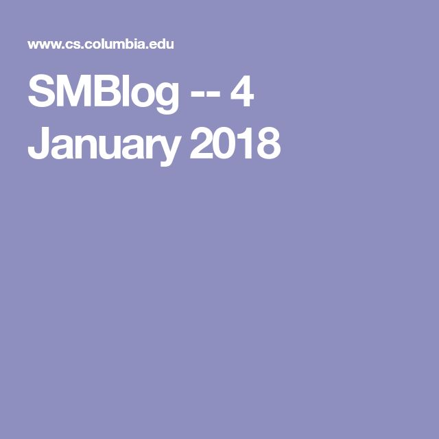 SMBlog -- 4 January 2018