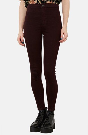 Topshop Moto 'Joni' High Rise Skinny Jeans (Burgundy) available at #Nordstrom
