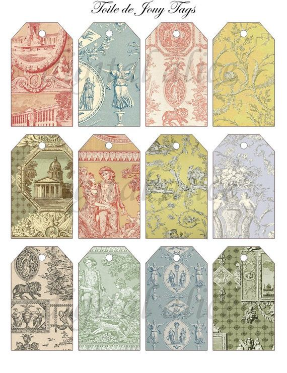 Vintage TOILE DE JOUY Tags  Instant Download Digital