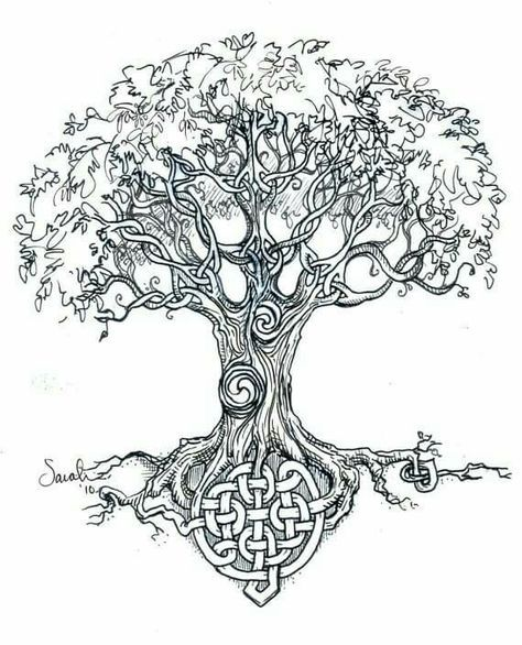 Celtic Tree of Life- This is beautiful, there are all kinds of Celtic symbols in the trunk and branches of this tree. STM