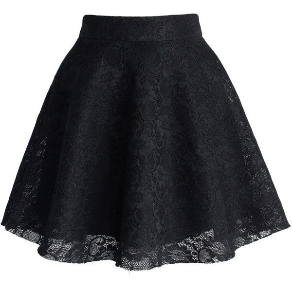 Chicwish Black Full Lace Skater Skirt (121.130 COP) ❤ liked on Polyvore featuring skirts, bottoms, saias, black, lacy skirt, lace skirt, circle skirt, black lace skirt and black flared skirt