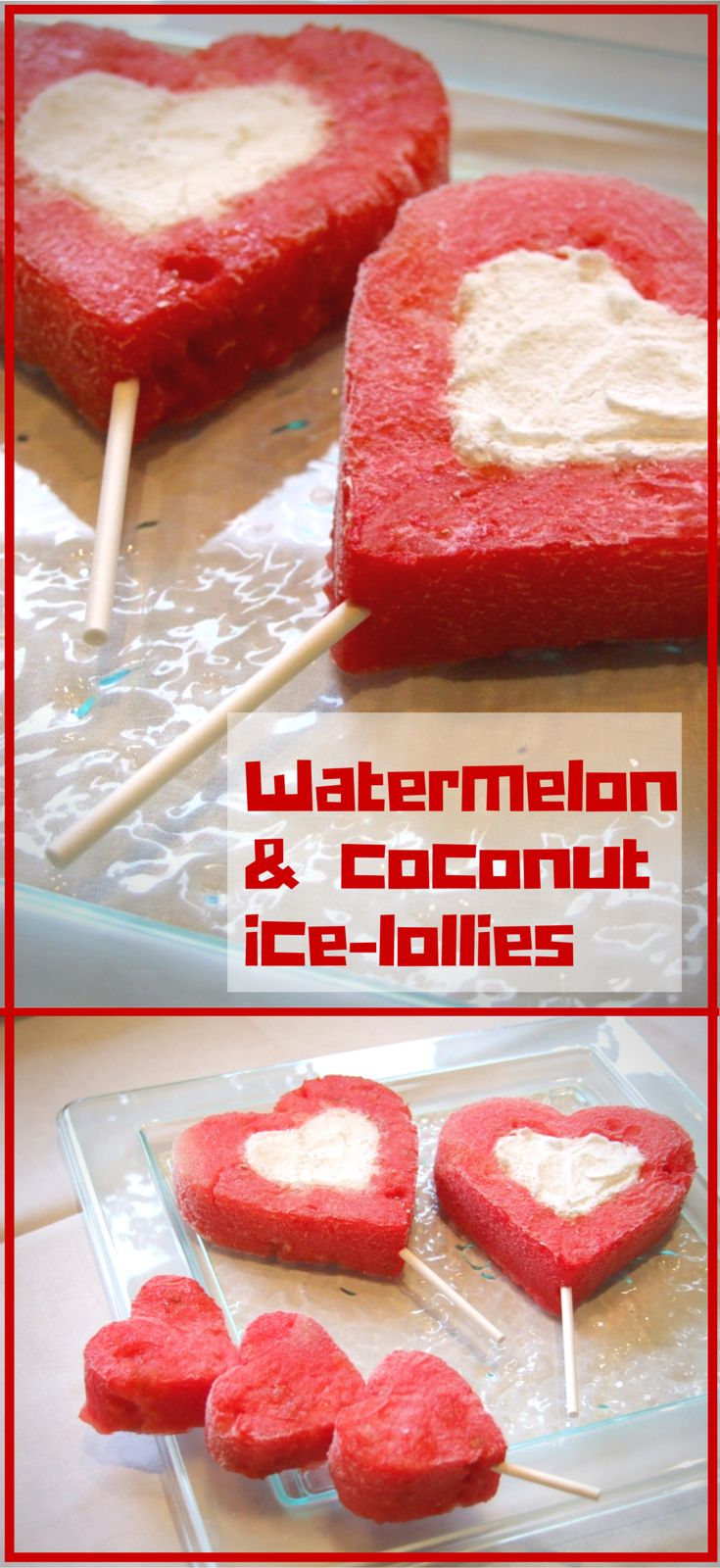 Refreshing and nutritious! 2 ingredient watermelon & coconut ice-lollies