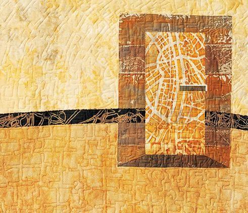 Alternative / Alternatíva, detail of map art quilt by Ezster Bornemisza