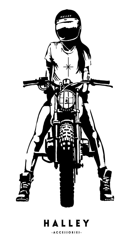 Girl Rider by Halley Accessories  Scrambler, Cafe Racer, Vintage Bike, Art, Illustration