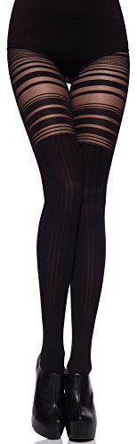 Merry Style Femme Collant MS 252 (Noir, 4 (40-44)): Tweet Un ravissant trompe l'œil sexy pour ce collant motif illusion cuissardes sur…