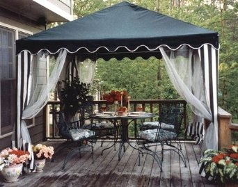 Amazon.com: 10 Foot Square Gazebo Canopy With Screens And Pole Skirts: