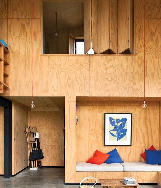 #plywoodinterior #plywoodwall #plywoodbench photo Dwell Magazine