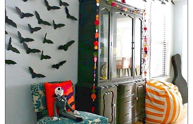 Fabulous Hallowen Decoration With Stripe Cushion And Wooden Closet Decoration