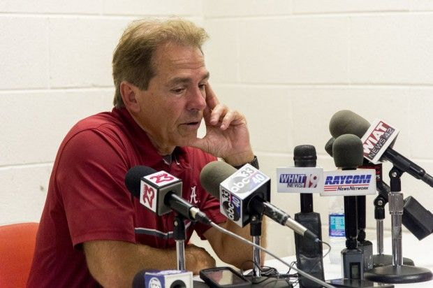 Alabama head coach Nick Saban comments on the 49-10 win after Alabama's SEC football game at Tennessee, Saturday, Oct. 15, 2016, at Neyland Stadium in Knoxville, Tenn.  Vasha Hunt/vhunt@al.com