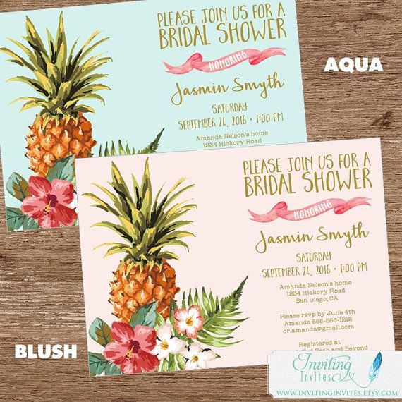 Tropical Bridal Shower Invitation | Luau, Pineapple, Hawaiian, Aloha, Couples Shower