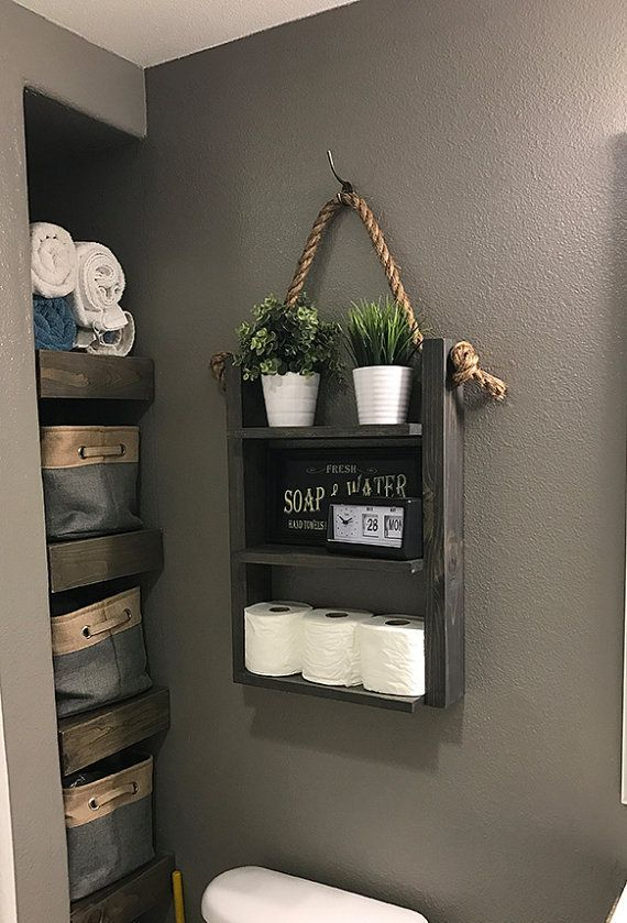 Farmhouse Bathroom Hanging Rope Ladder Shelf, Modern Farmhouse Over Toilet Storage, Rustic Rope & Shed Wooden shelves, medicine cabinet