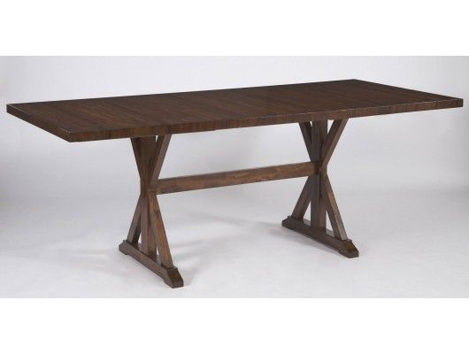 Waurika Rectangular Counter Height Extension Table With Two Removable Leaves Thick Built Up Top Mango Veneers And Hardwood Solids In Medium Brown
