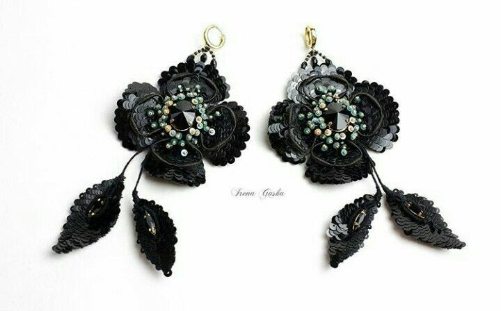 Black poppy earrings