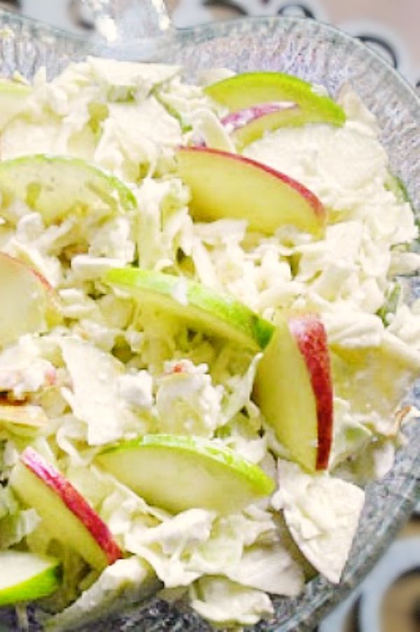 Apple Coleslaw with Cottage Cheese and very little Mayo ! This is our favorite salad of all time and perfect when you are looking for a super skinny salad