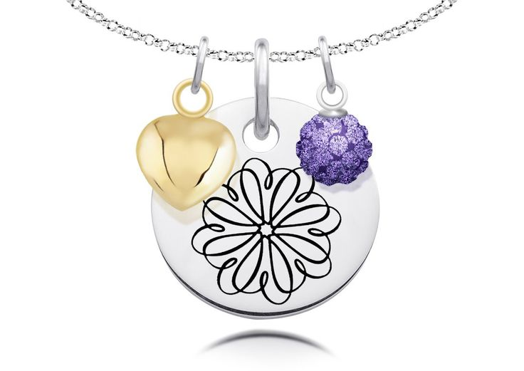 Sigma Kappa Symbol Necklace with Heart and Crystal Ball Charms