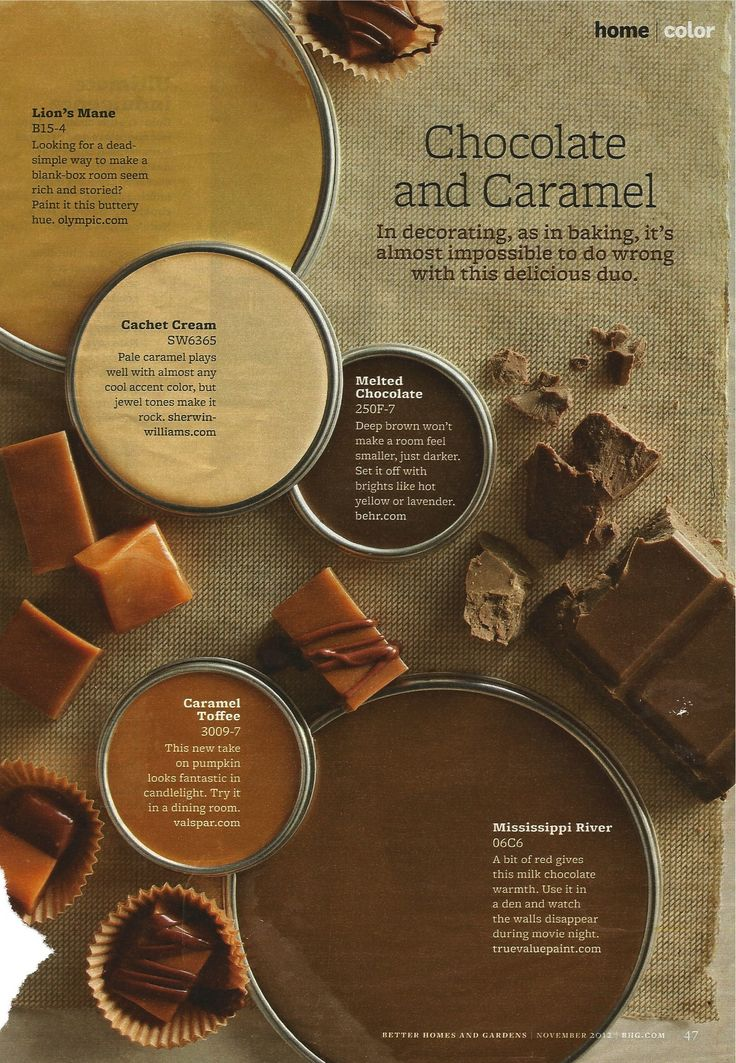 Chocolate and caramel color scheme | BHG November 2012