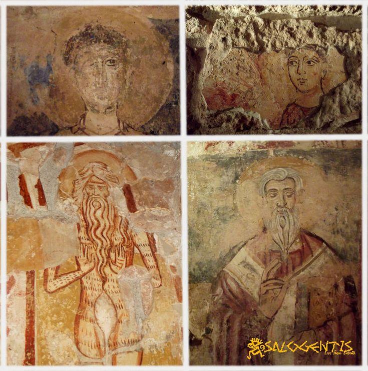Alcuni degli affreschi all'interno della chiesa di Santa Maria di Miggiano, a Muro Leccese