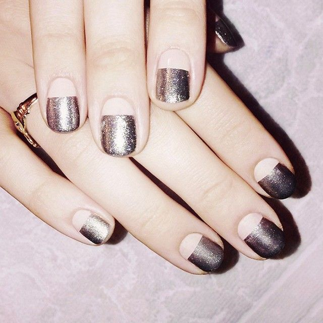 Chic Nails - two-thirds metallic manicure