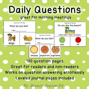 visual daily questions for the year for special education question