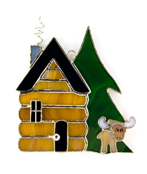 Log Cabin Stained Glass Night Light Cover Remember To
