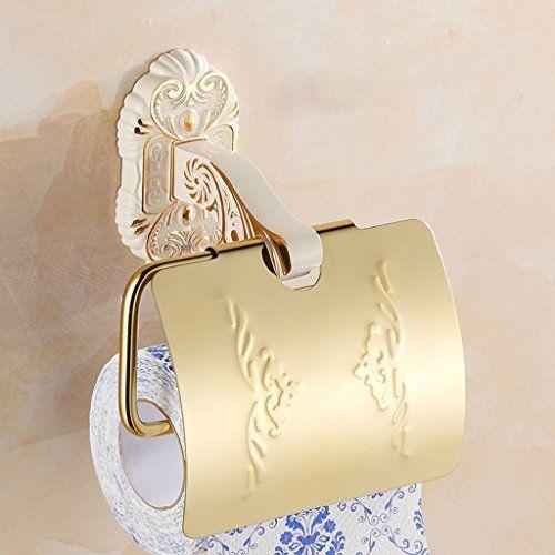 EST007� kontinental Retro Gold plus wei� Papierhandtuchhalter Toilettenpapierkassette WC Backblech Rolle WC-Rollenhalter-Fach