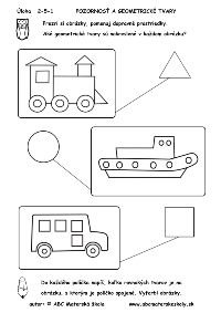 Dopravné prostriedky - geometrické tvary - pracovný list