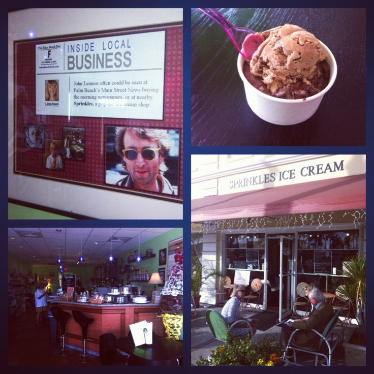 John Lennon was a frequent visitor to Palm Beach's Sprinkles Ice Cream shop. Numerous other celebs have also tried the treats there including Michael Jackson, Brooke Shields, the Rooney family, etc.
