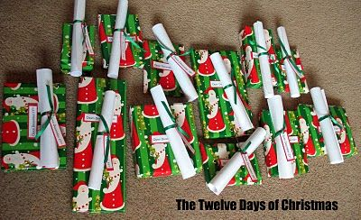 Twelve Days of Christmas: A Story And A Treat  I wrapped each candy individually, rolled up the story for that day and attached a tag that says what day it is supposed to be opened.