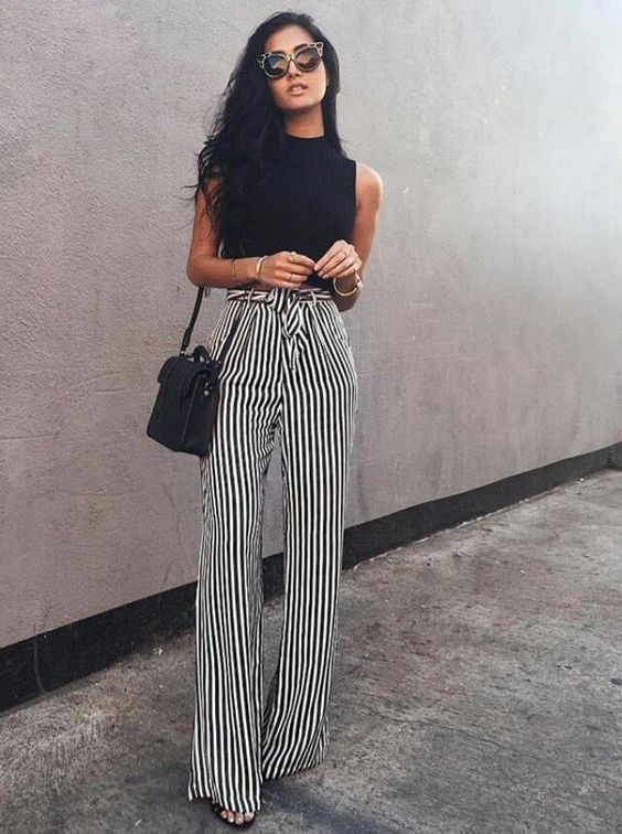 crop top and striped wide leg